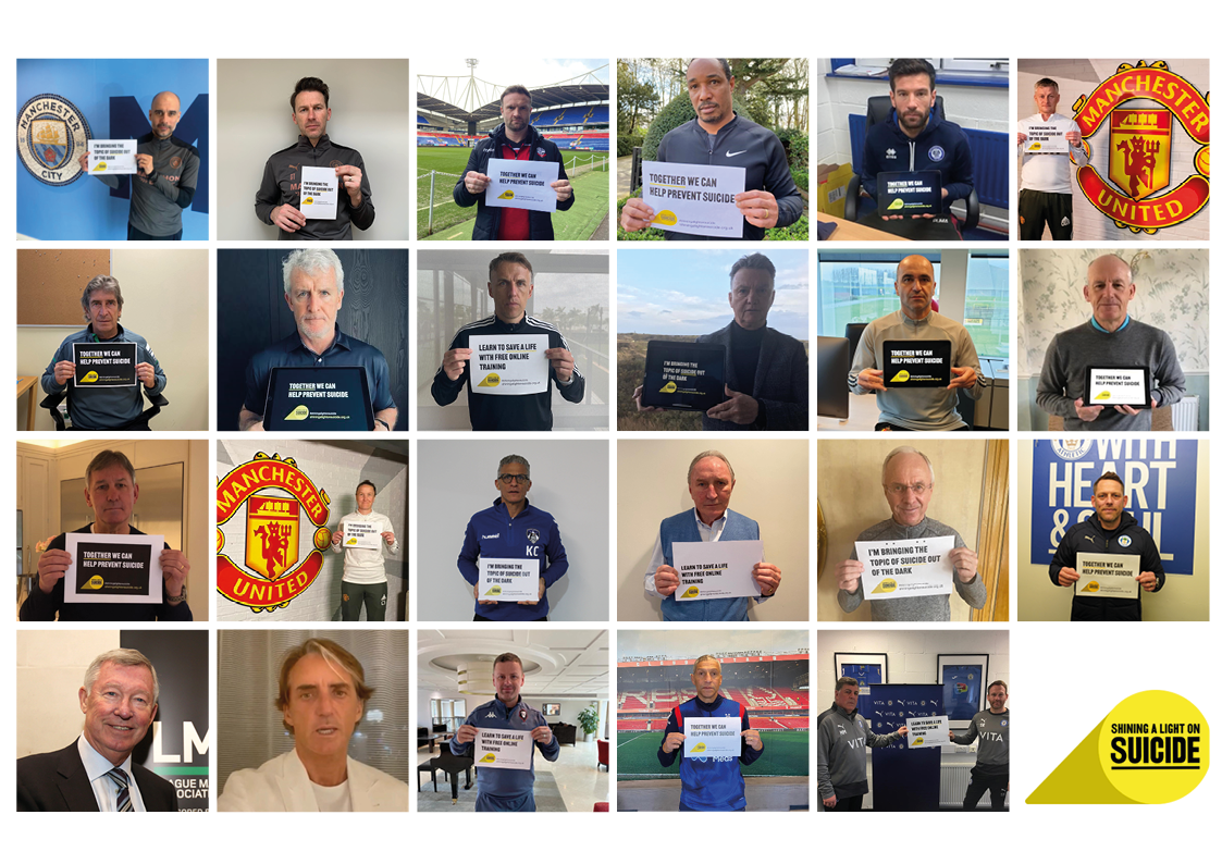 photographs of LMA members holding Shining a Light on Suicide campaign messages